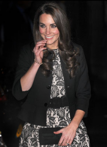 Kate's black and white lace dress by Zara