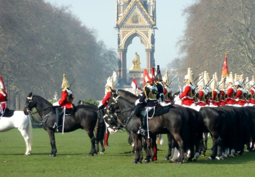 Household Cavalry Prepare for Inspection Albert Memorial Kensington Gardens London