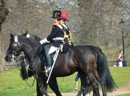Beautiful Spring Day in Hyde Park Watching Household Cavalry