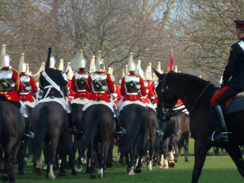 Household Cavalry Soldiers on Parade London Hyde Park