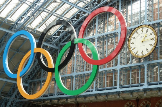 London 2012 Olympic Rings St Pancras train station