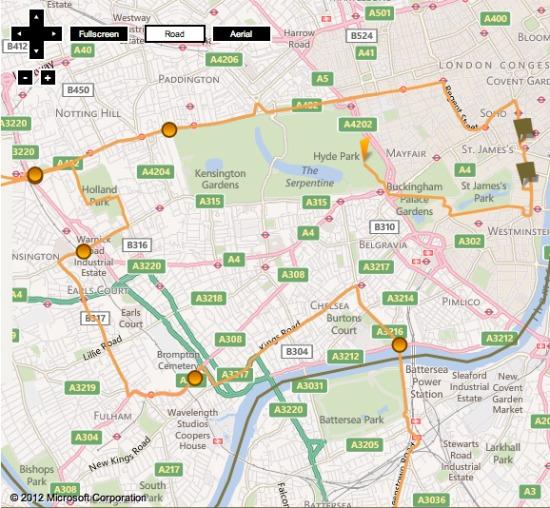 London Olympic Torch Relay Map Chelsea Kensington