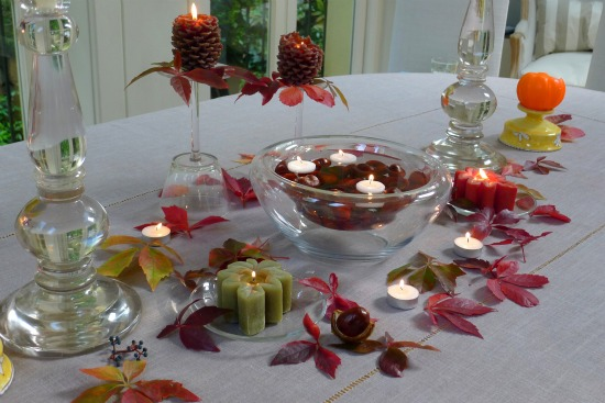 Autumn table display with chestnuts from Kensington
