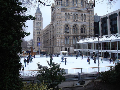 Have fun ice skating in London at the Natural History Museum in South Kensington!