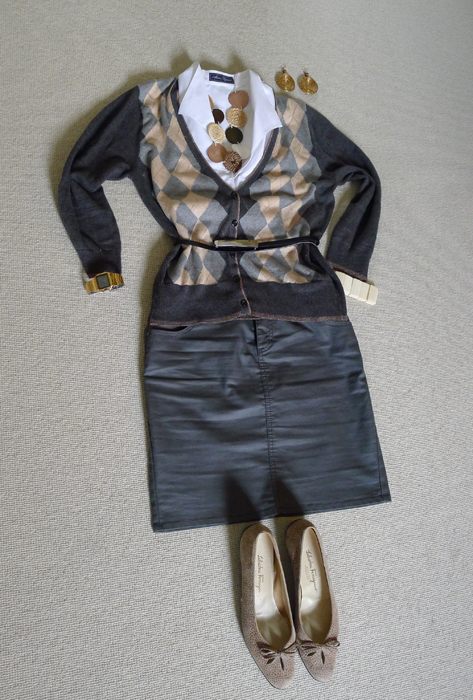 $20 sweater looks great with gray skirt and belt