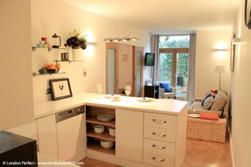 London Perfect Chelsea Vacation Rental Kitchen Living Room