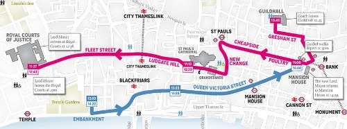 Lord Mayor's Show 2012 Map