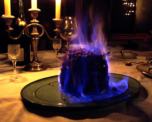 Christmas Pudding Flaming