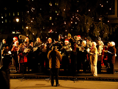 Caroling in Trafalgar Square Christmas in London