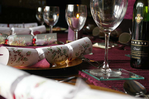 Holiday Table with Christmas Crackers