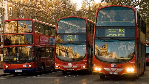 Buses Lined up in London