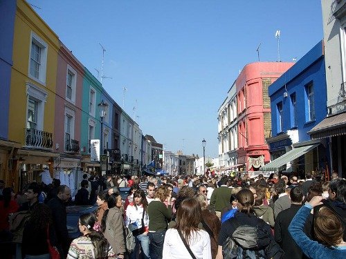 Busy Portobello Road Saturday Antiques Market