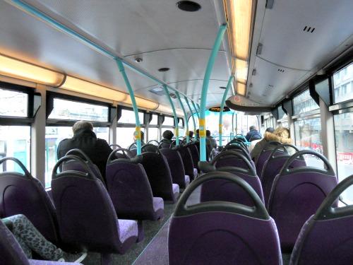 Upper level of London bus