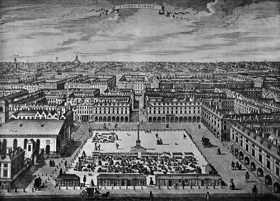 Covent Garden circa 1720 in an engraving by Sutton Nicholls. St. Paul's Church is on the left.