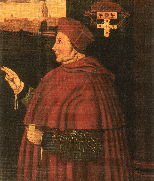 Portrait of Cardinal Wolsey by Sampson Strong, c. 1526.