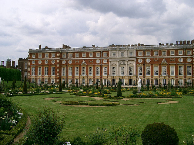 The beautiful 17th-century gardens at Hampton Court.