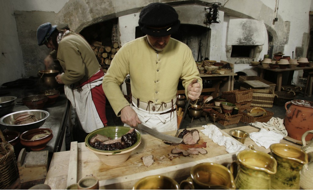 King Henry's great Tudor kitchens swing back into action with a series of live cookery  events to run throughout the year. Food historians and archaeologists will once again be experimenting with Tudor recipes, utensils and cooking methods. Credit: Richard Lea-Hair/HRP/newsteam.co.uk
