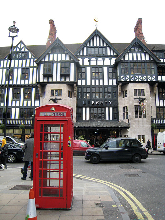 The famous mock Tudor building that houses Liberty was designed by the architects Edwin T. and Edwin S. Hall.