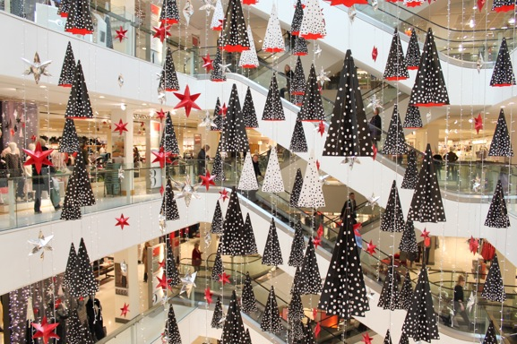 Beautiful Christmas Decorations Hang From The Ceiling Of The Peter Jones  Store In Sloane Square