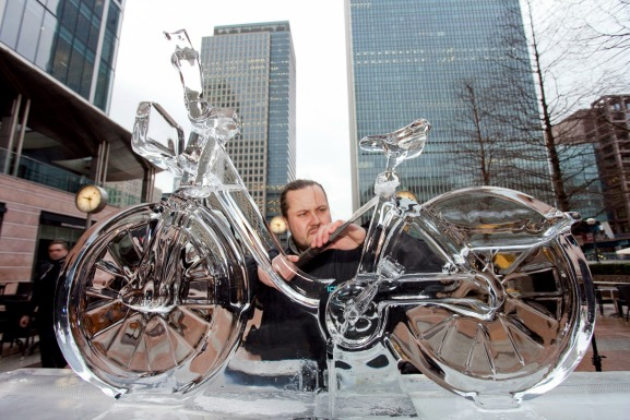 Sculpting a bike from ice? It must be The London Ice Festival.