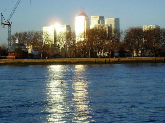 The view from Greenwich to Canary Wharf.