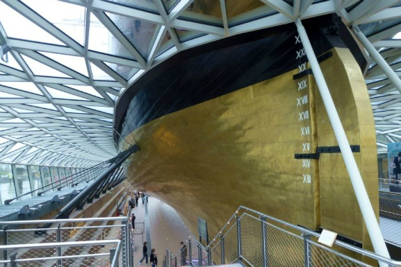 The gold hull of the restored Cutty Sark.