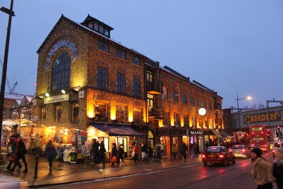 Camden Lock Market Hall all lit up.