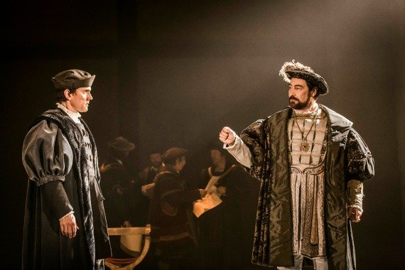 Ben Miles as Thomas Cromwell and Nathaniel Parker  as Henry VIII in Wolf Hall. Photographer Johan Persson.