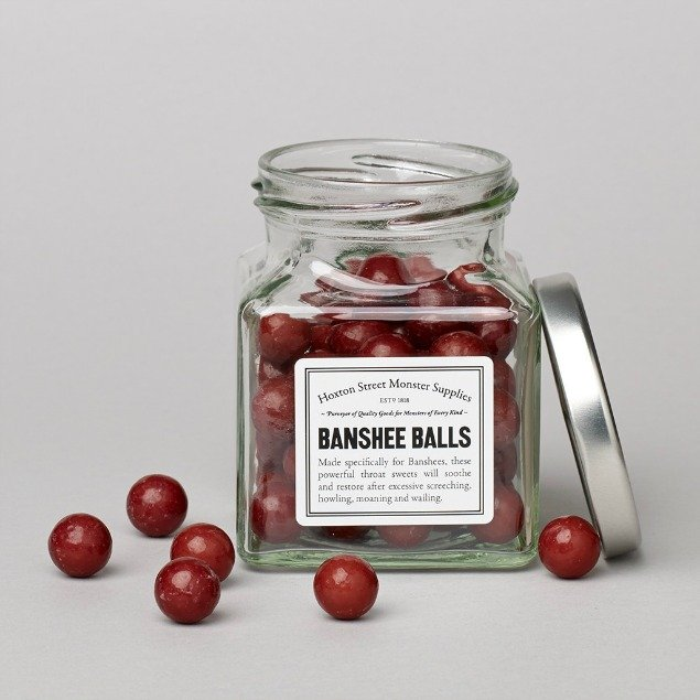 Banshee Balls: ' ...to soothe and restore after excessive screeching, howling, moaning and wailing""