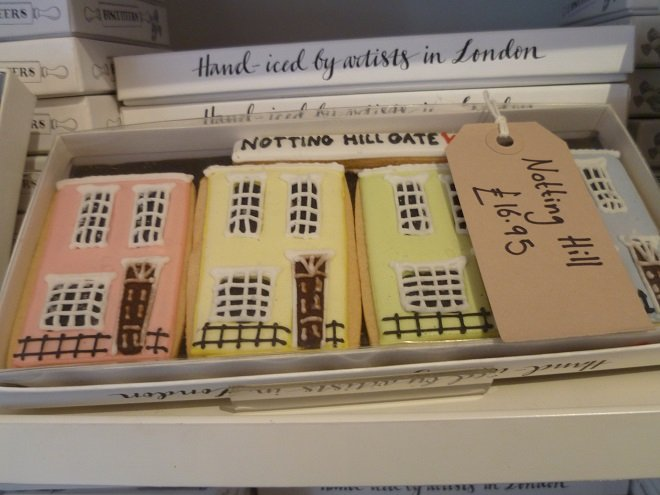 biscuits in the shape of Notting Hill houses