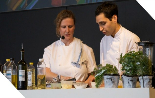Watch top chefs perform cookery demonstrations.