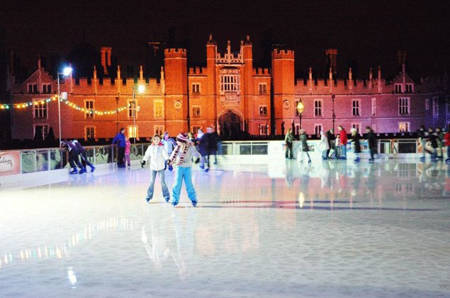 The Hampton Court Palace Ice Rink with the famous and magical West Front façade as a backdrop for skating. This year the ice rink will open on Saturday 2 December 2006 for six weeks.