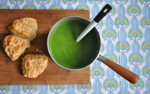 Spinach and Rosemary Soup with Parmesan Scones