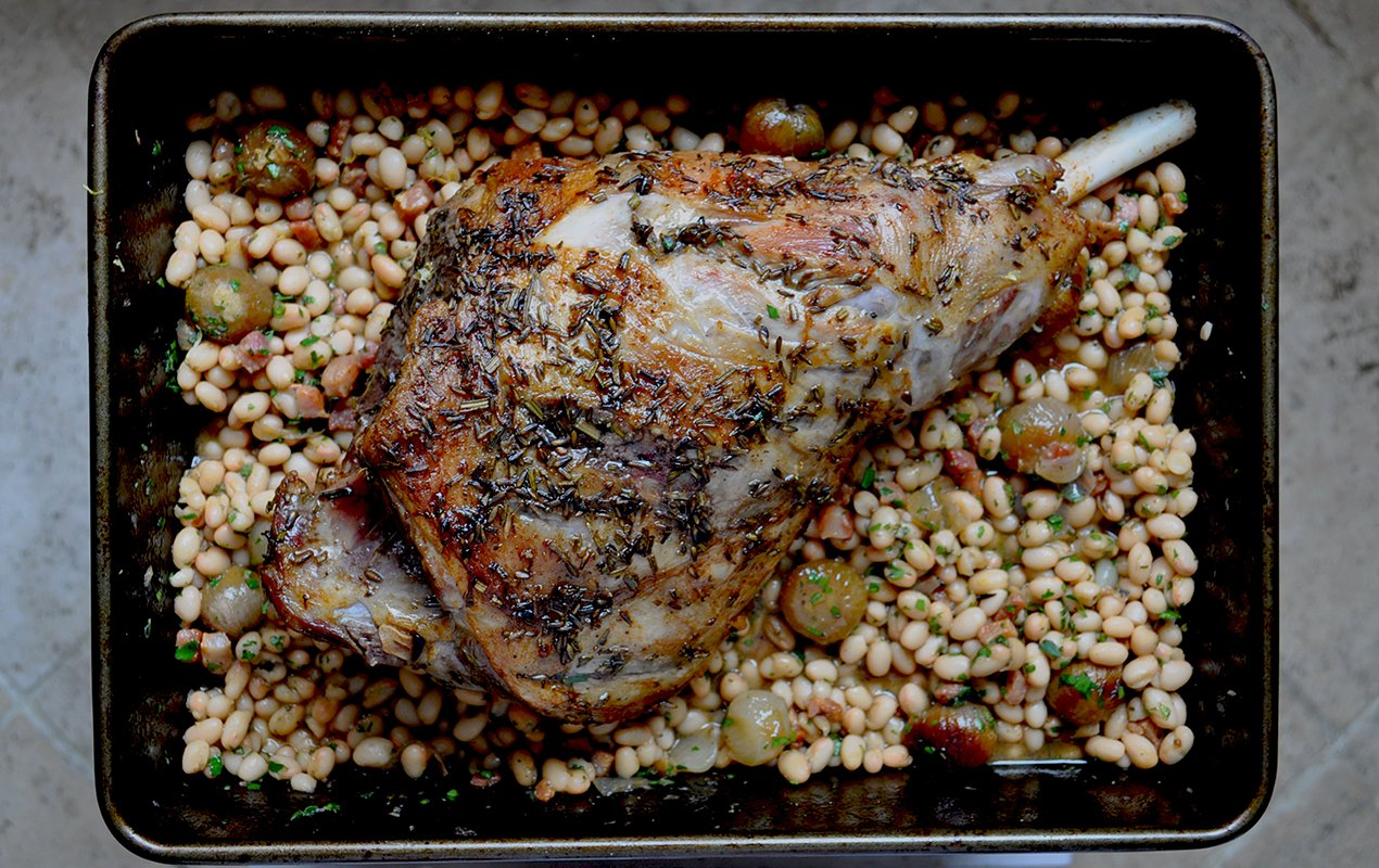 Lavender And Rosemary Roasted Leg Of Lamb With Haricot Beans
