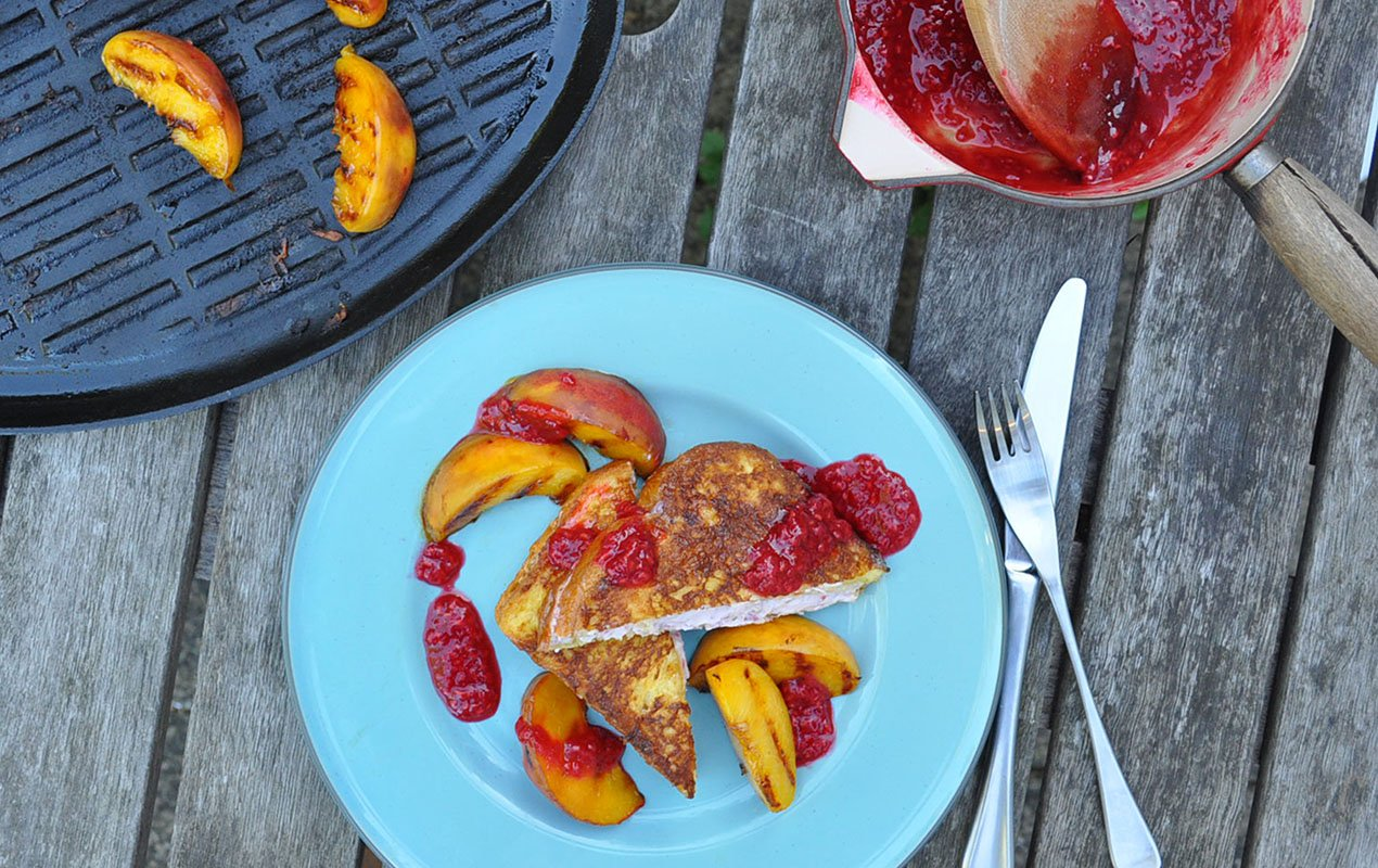 Ricotta-Filled French Toast With Griddled Peaches