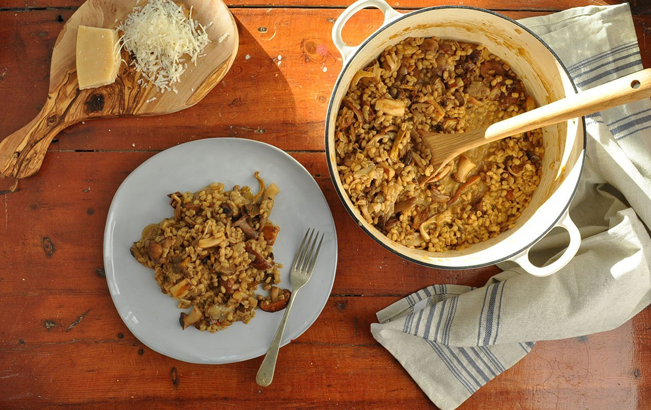 Wild Mushroom And Roasted Garlic Barley Risotto