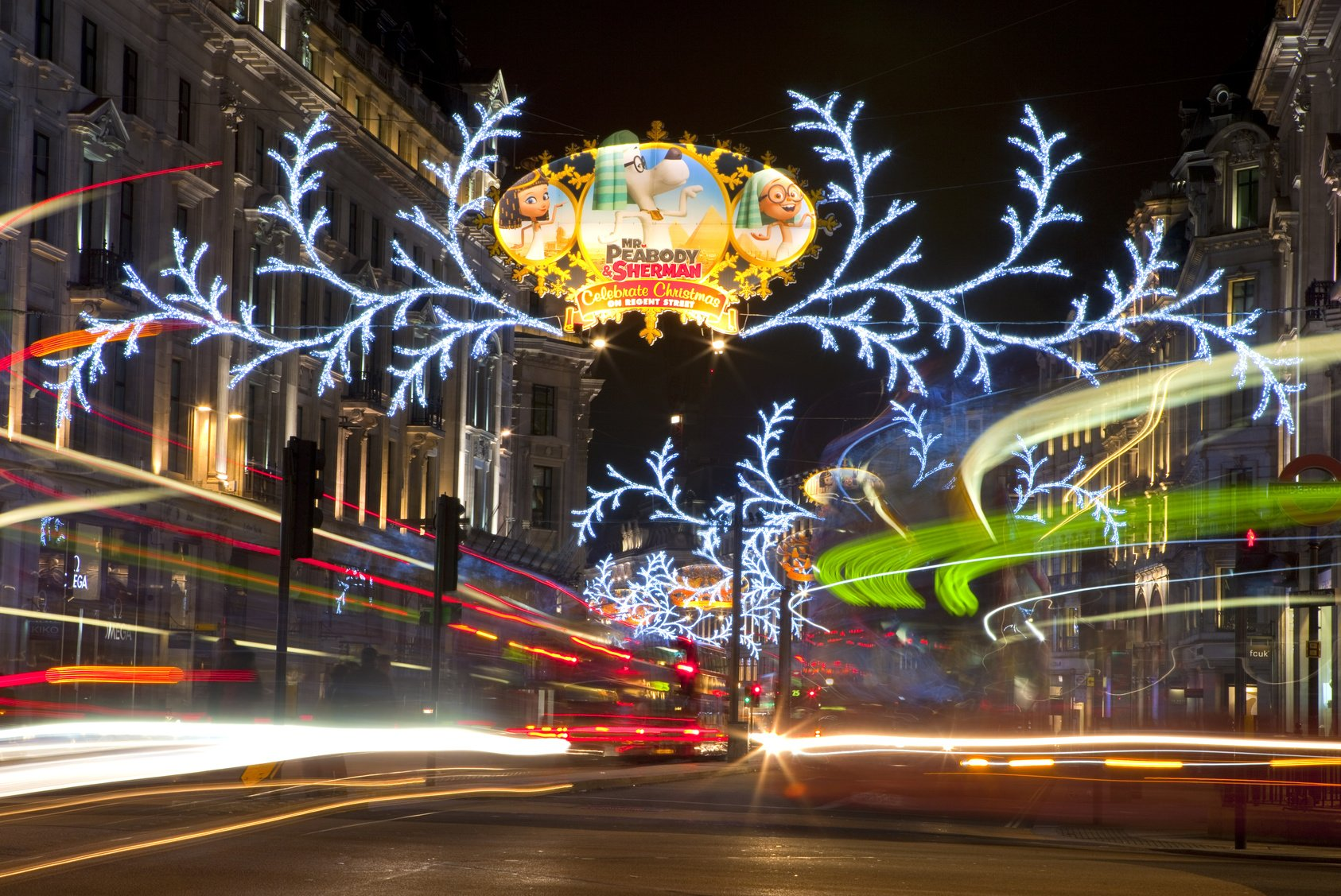 LONDON, UK - DEC 1ST 2013: The Christmas lights on Regent Street in London on 1st December 2013.