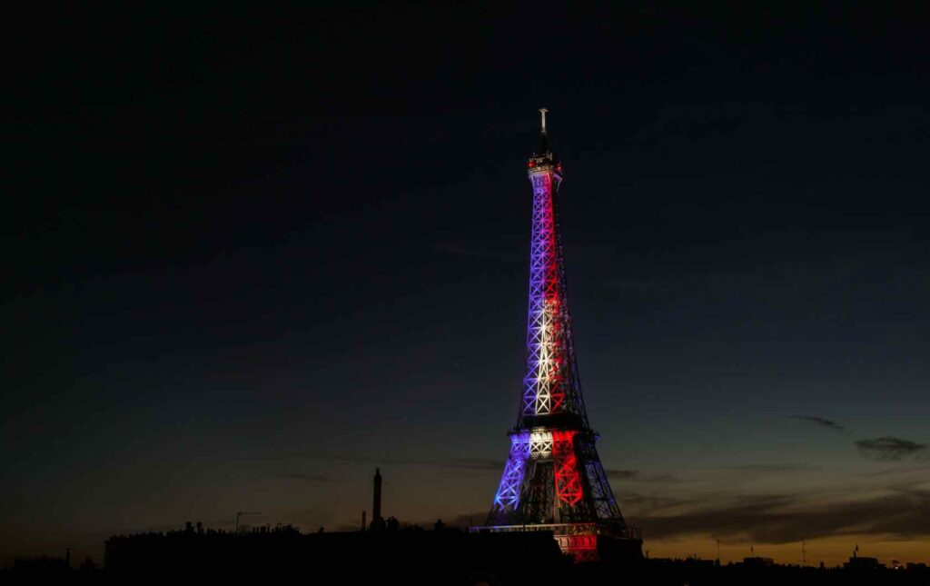 Eiffel Tower with French Flag Bastille Day
