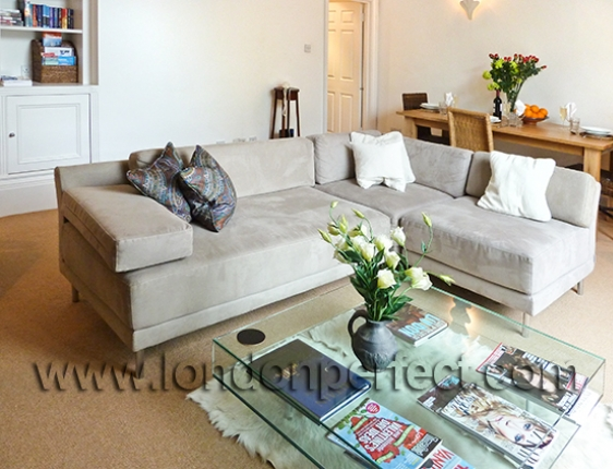Large Sectional Sofa In Ultrasuede Oak Dining Table Beyond