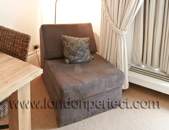 Brown Suede Chair Converts To Single Bed