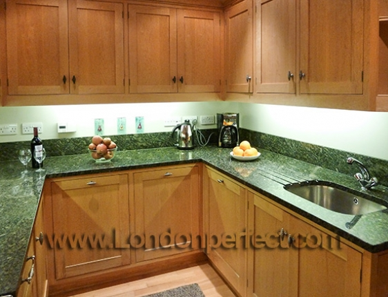 Green Countertops Kitchen : Pretty cherrywood with black granite countertop kitchen