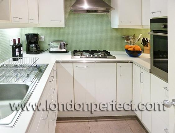 Modern Kitchen In London White Cabinets Full Sized Buildg In Refrigerator Freezer