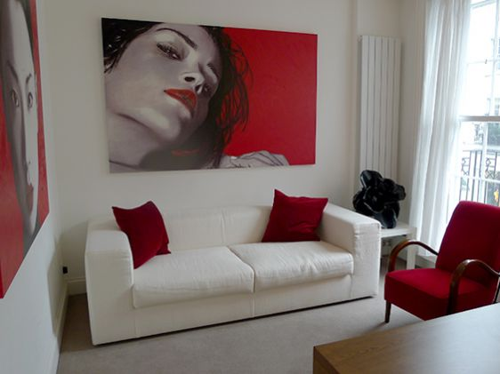 Striking contemporary artwork in the living room