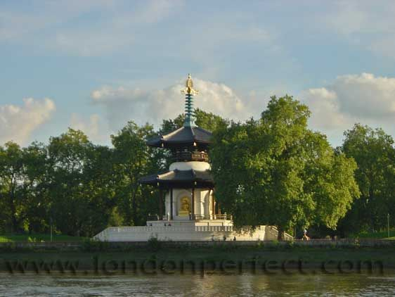 Buddhist shrine in Battersea Park across the Thames