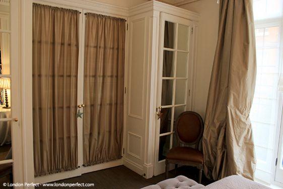 Silk curtains in bedroom