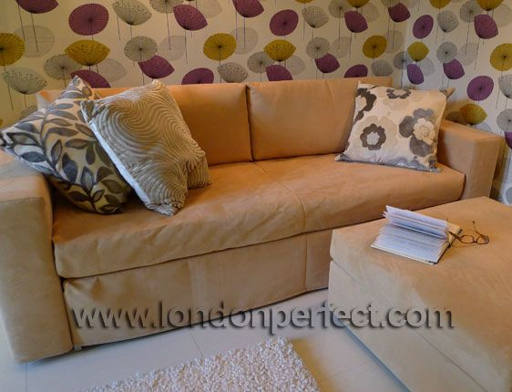Ultrasuede sofa in the Mayfair vacation rental offered by London Perfect