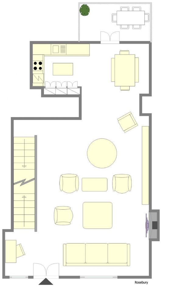 First story floorplan of the Rosebery rental
