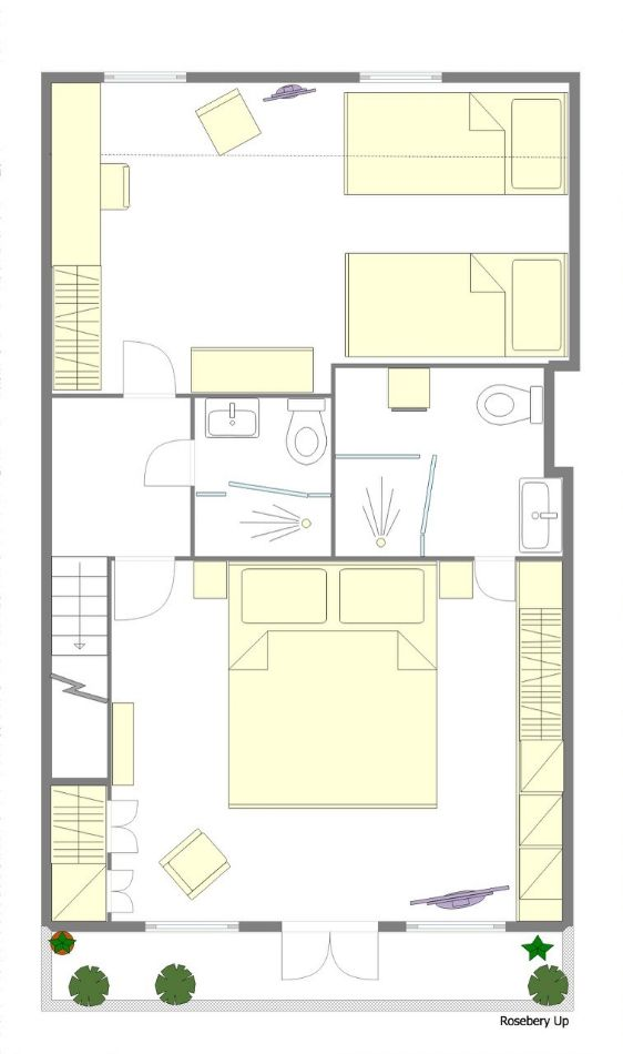 Second story floorplan of the Rosebery rental