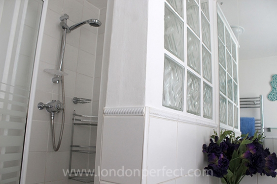 Step in shower in second bathroom of London home
