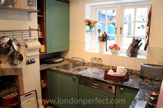 Plenty of counter space in charming London kitchen